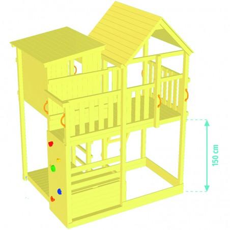ξύλινος πύργος παιδικής χαράς με κούνιες