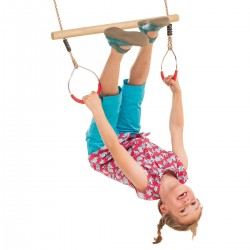 Wooden Ring Trapeze with...