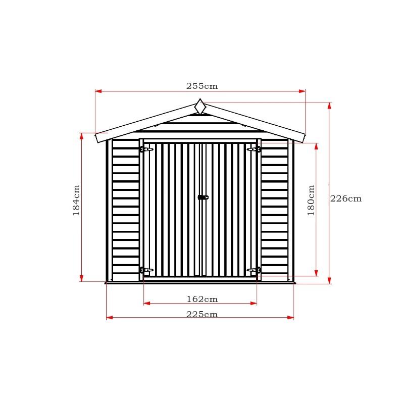 Ξύλινη αποθήκη κήπου 225 x 225cm