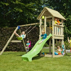 wooden playground with slide and swing